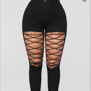 Black lace up jeans
